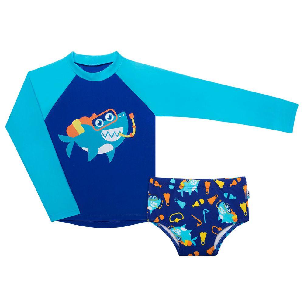 Conjunto de banho Tubarão Mergulhador  Camiseta Surfista + Sunga Puket no  Bebefacil onde você ae37510df7a