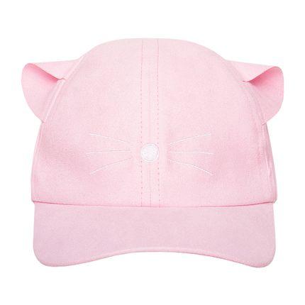 KI453_A-moda-bebe-menina--bone-em-suede-rosa-meow-meow-kids.com-no-bebefacil-loja-de-roupas-enxoval-e-acessorios-para-bebes