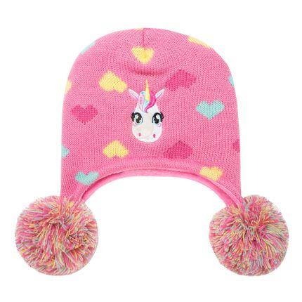 PK0503-UNI_A-moda-bebe-menina-gorro-de-la-pompom-rosa-unicornio-Puket-no-bebefacil-loja-de-roupas-enxoval-acessorios-para-bebes