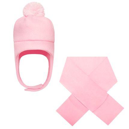 KI481_A-moda-infantil-menina-kit-touca-pompom-cachecol-com-bolsos-em-soft-rosa-kids.com-no-bebefacil-loja-de-roupas-enxoval-e-acessorios-para-bebes
