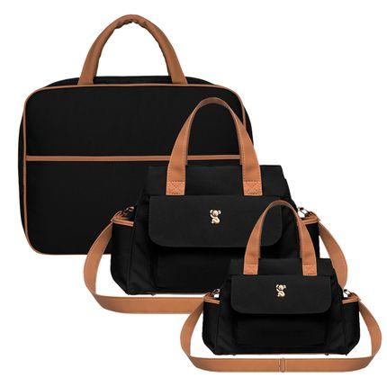 MOM9045---BOBM9045---BOBP9045-A-Mala-Maternidade---Bolsa-Bella-M---Bolsa-Termica-Bella-P-Oxford-Preto---Classic-for-Baby-Bags