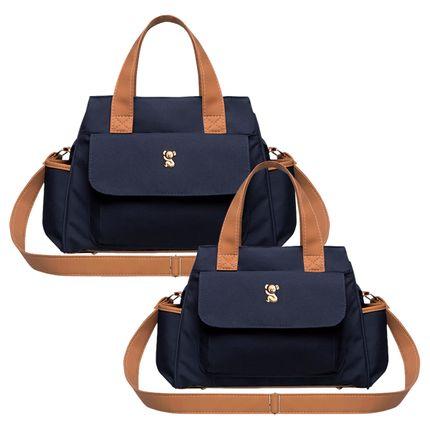 BOBM9043---BOBP9043-A-Bolsa-Maternidade-Bella-M---Bolsa-Termica-Bella-P-Oxford-Marinho---Classic-for-Baby-Bags