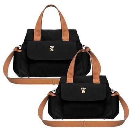 BOBM9045---BOBP9045-A-Bolsa-Maternidade-Bella-M---Bolsa-Termica-Bella-P-Oxford-Preto---Classic-for-Baby-Bags