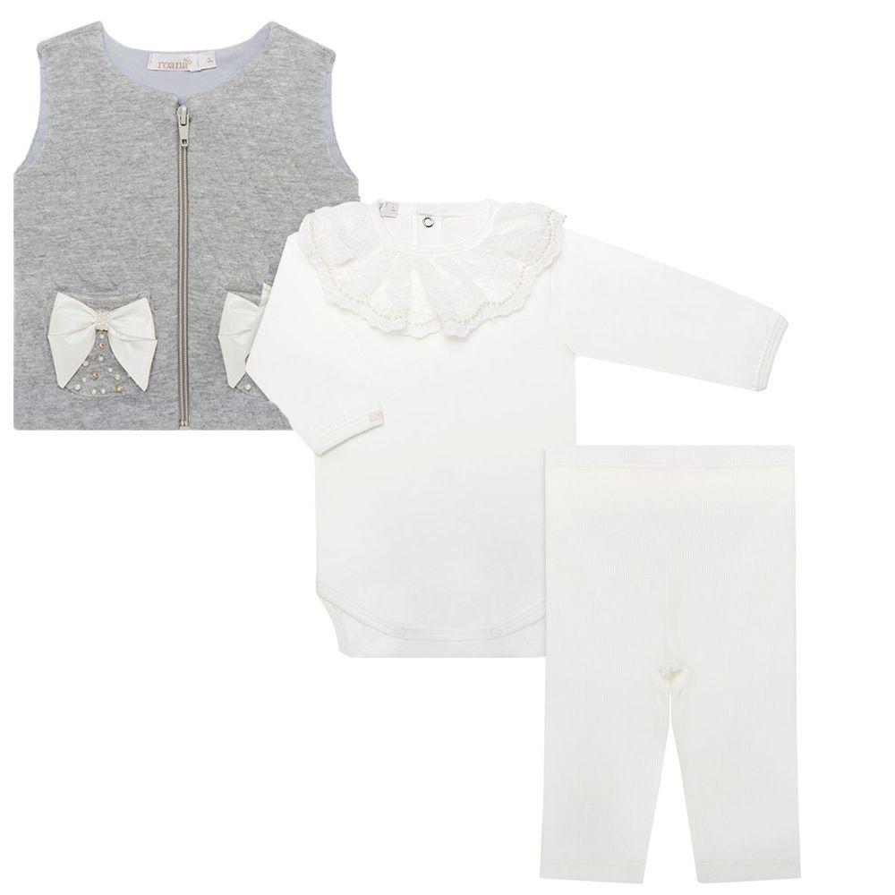 Colete + Body longo babadinhos + Legging para bebê Lacinhos   Pérolas -  Roana 7a333067d8b