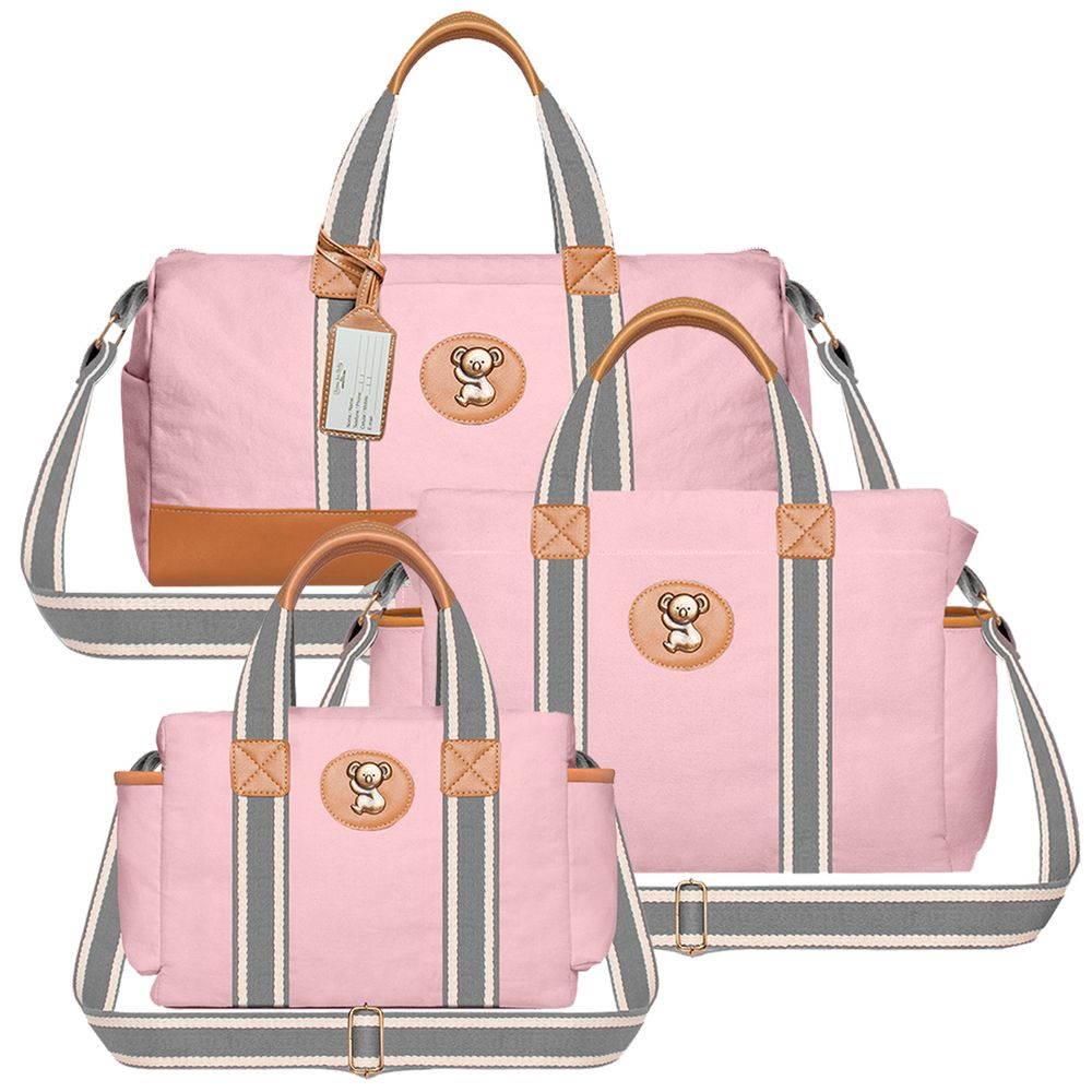 MA9024-BSA9024-FSGC9024-Bolsa-Passeio-para-bebe---Bolsa-Albany---Frasqueira-Termica-Gold-Coast-em-sarja-Adventure-Rosa---Classic-for-Baby-Bags
