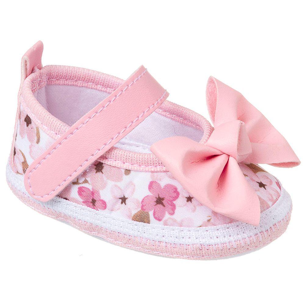 375e45140 Sapatilha para bebê Floral Rosa - Keto Baby no Bebefacil