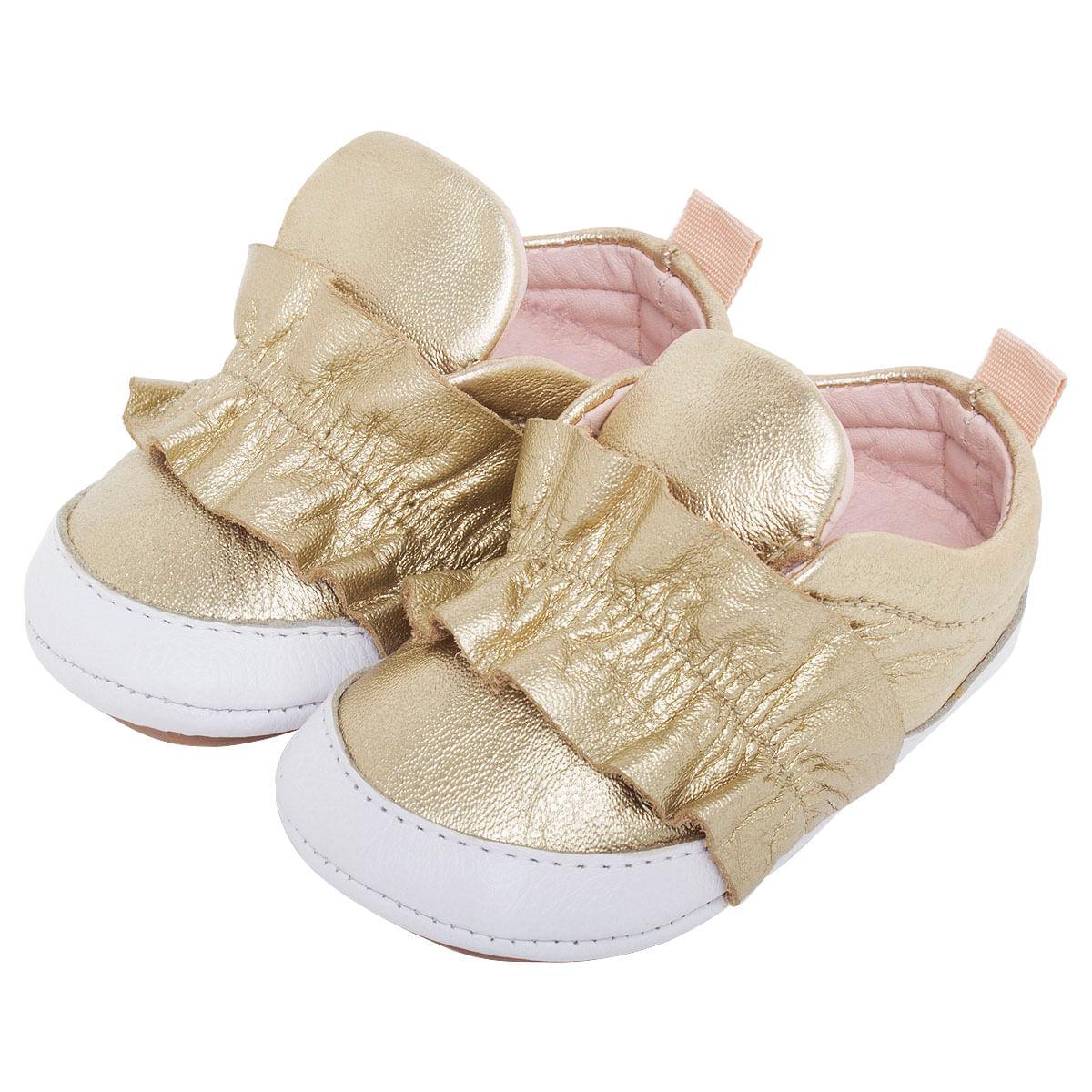 fc259d5452 Tênis frufru em couro Dourado - Maria Caramelo no Bebefacil você encontra  uma grande variedade de sapatinhos para bebes - bebefacil