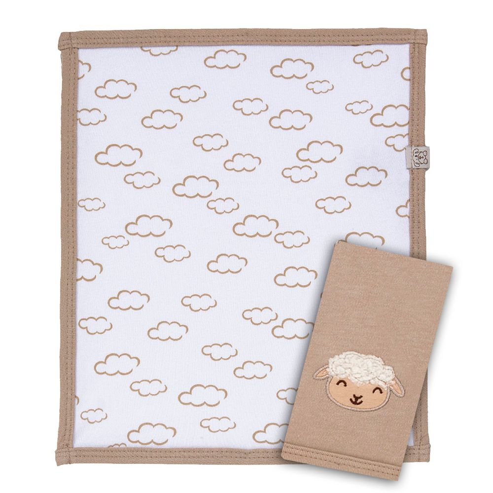 Kit  2 fraldinhas de boca para bebê em suedine Ovelhinha - Pingo Lelê d9785793a325f