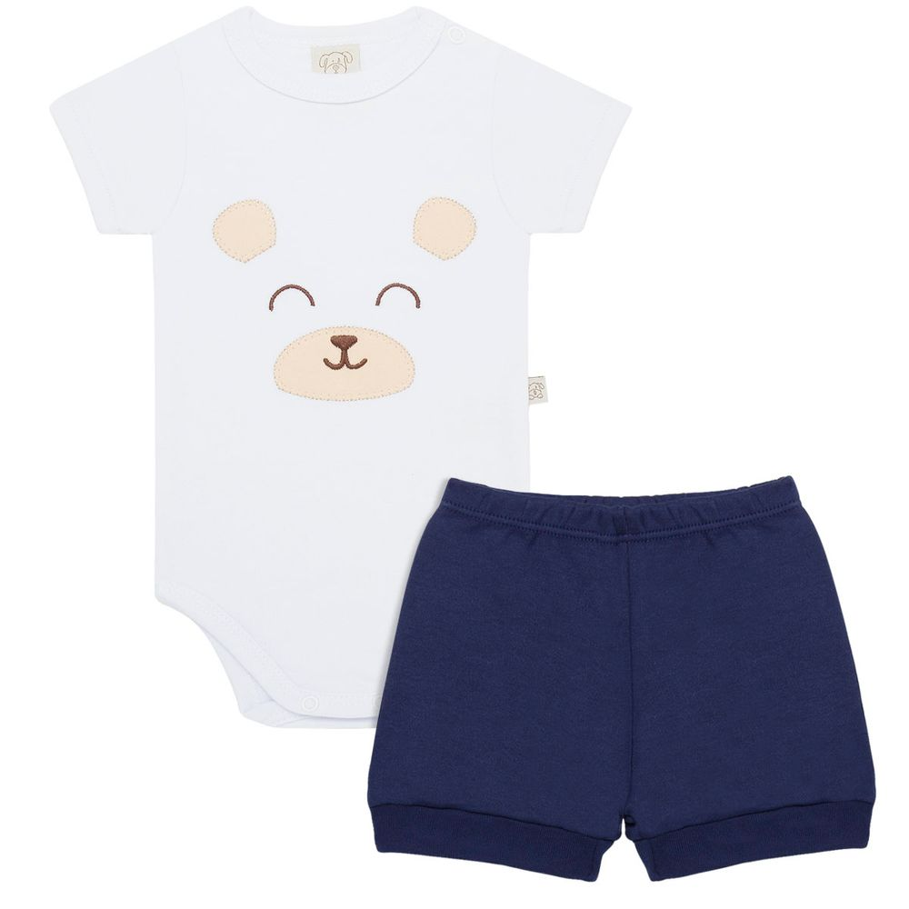 Body curto c  Shorts para bebê em suedine Ursinho Marinheiro - Pingo Lelê 94bb0a47d4b6a