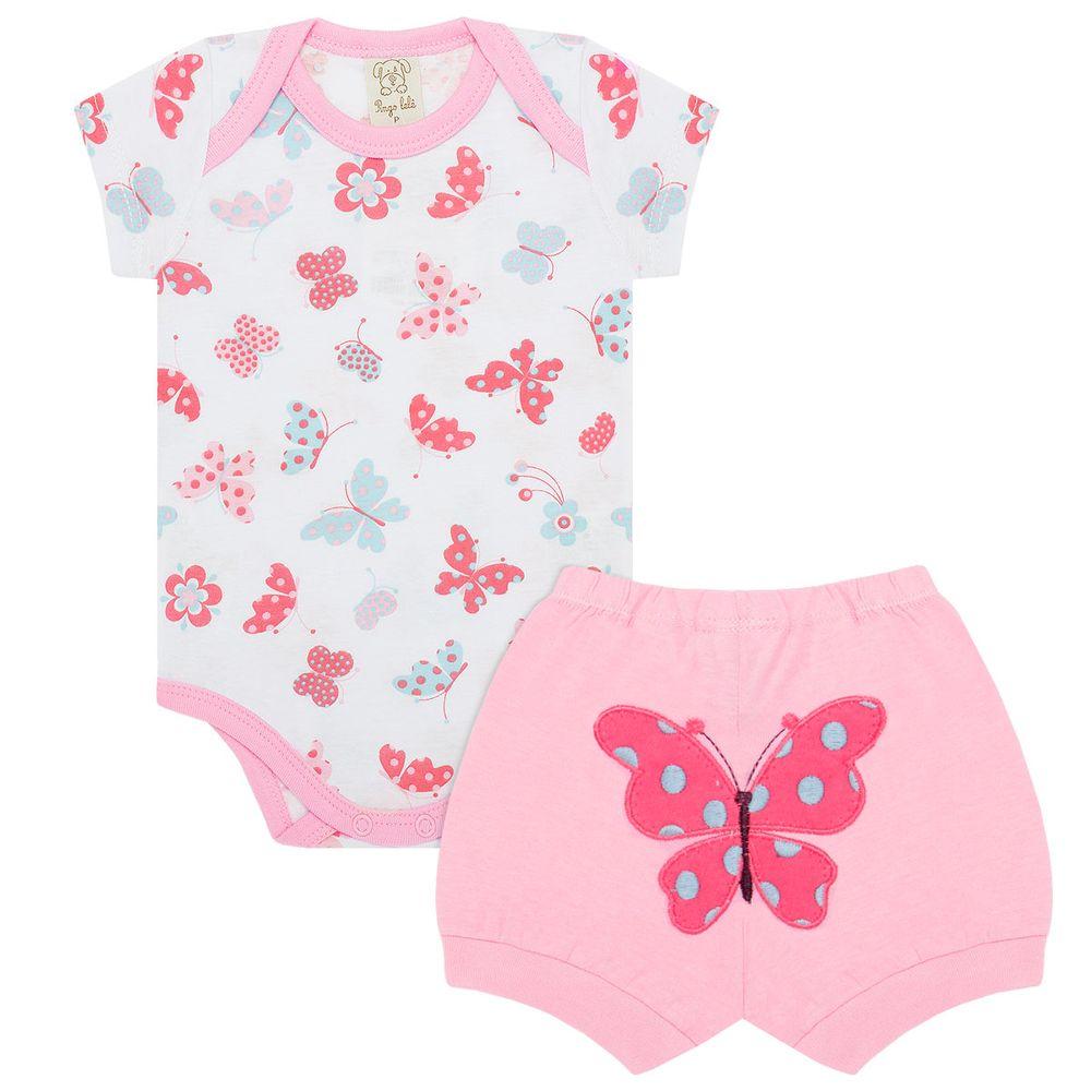 Body curto c  Shorts para bebê em malha Borboletinhas - Pingo Lelê ... 4132eb826a0d