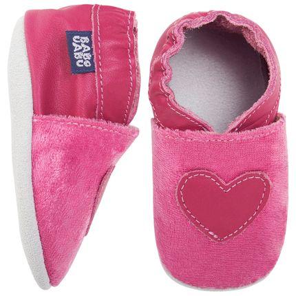 BABO53_A-sapatinho-bebe-menina-sapatinho--em-couro-Eco-velvet-heart-pink-babo-uabu-no-bebefacil-loja-de-roupas-enxoval-e-acessorios-para-bebes