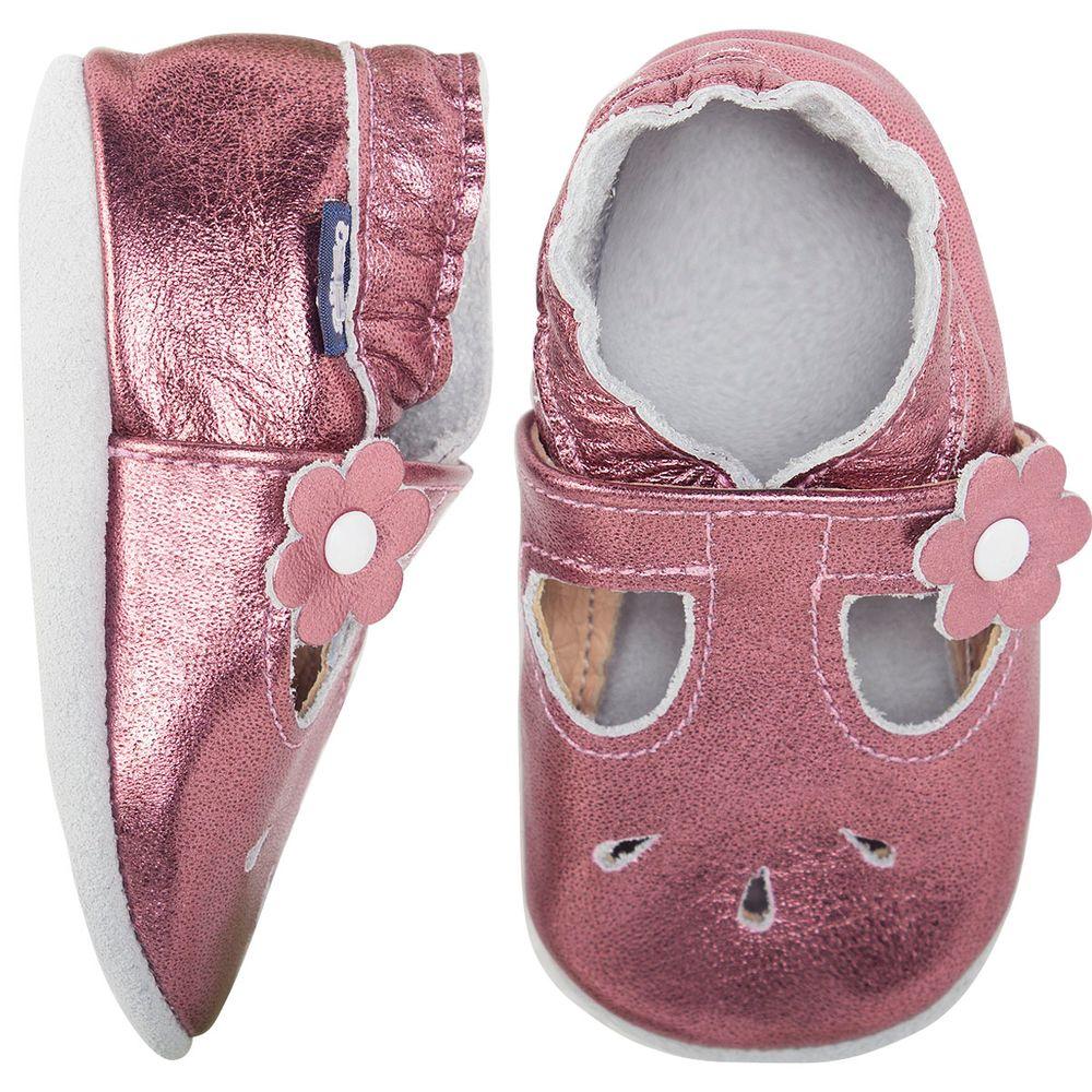 BABO55_A-sapatinho-bebe-menina-sandalia-boneca-metalizada-em-couro-eco-rose-babo-uabu-no-bebefacil-loja-de-roupas-enxoval-e-acessorios-para-bebes