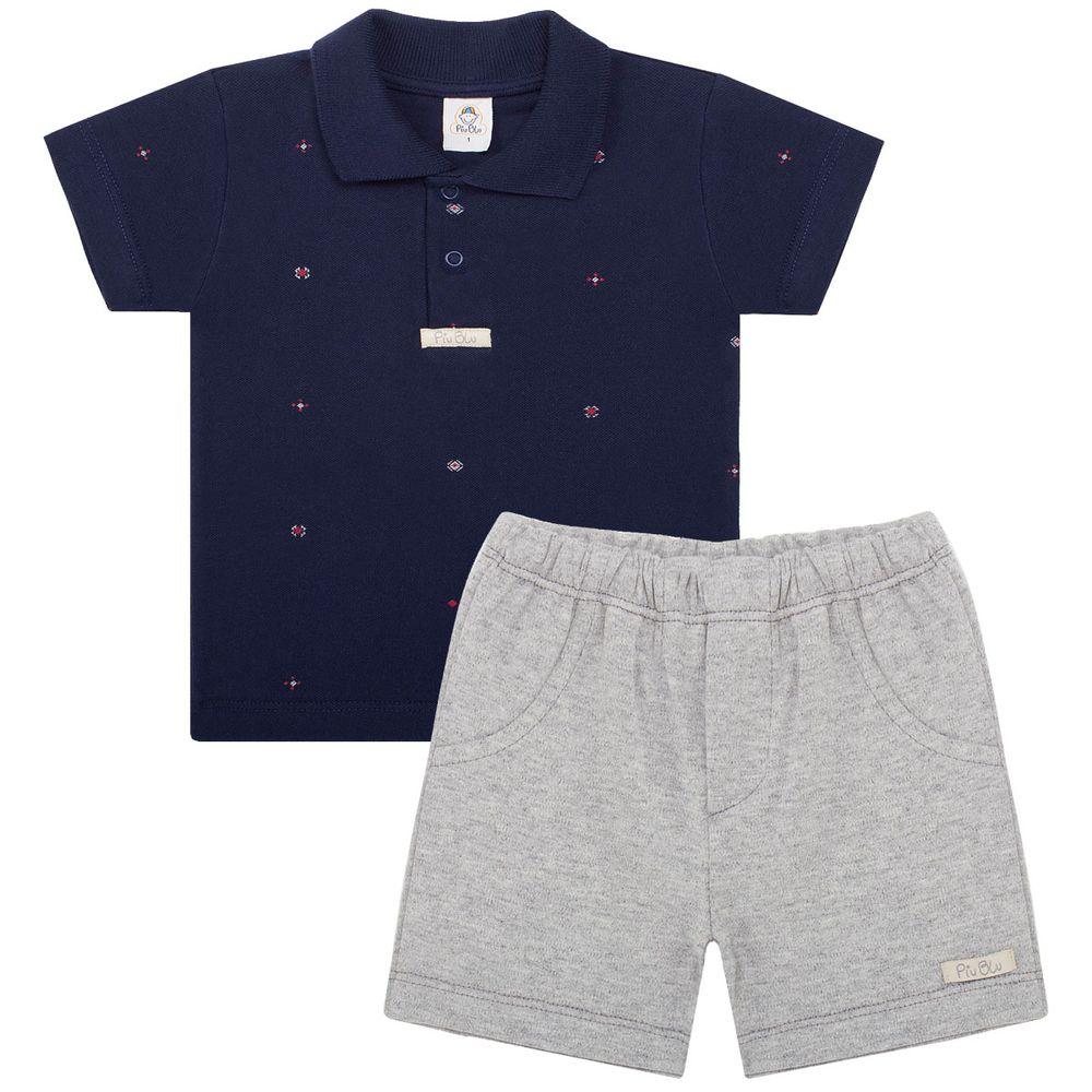 87e73bd30c Polo c  Shorts para bebê em suedine Náutico - Piu Blu no Bebefacil onde  você encontra tudo em roupas e enxoval para bebês - bebefacil