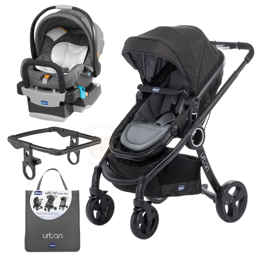 CH8020-CH8023-B-CH8021-CH9002-G-A-Urban-Travel-System-Carrinho-Urban-Plus---Color-Pack-Anthracite---Poltrona-Bebe-Conforto-Keyfit-Graphite---Chicco