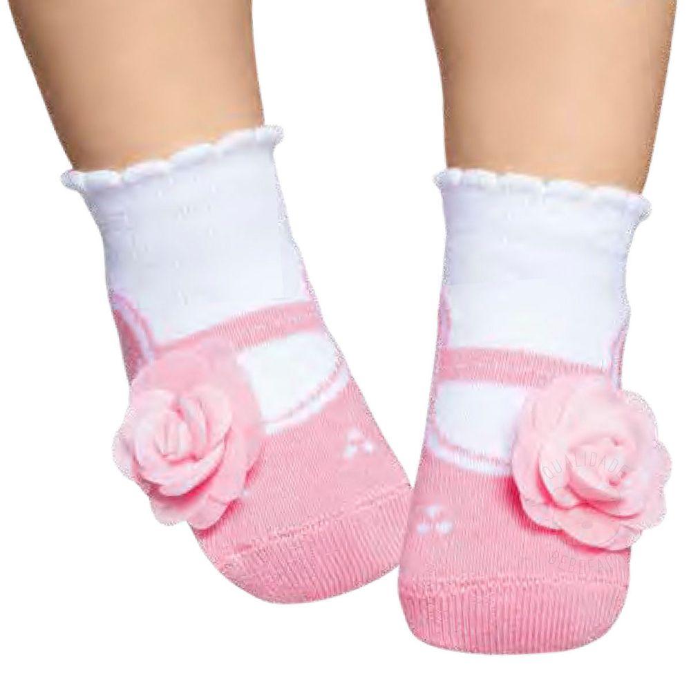 0719c60968 Meia Soquete Sapatilha para bebê Flor Rosa - Puket
