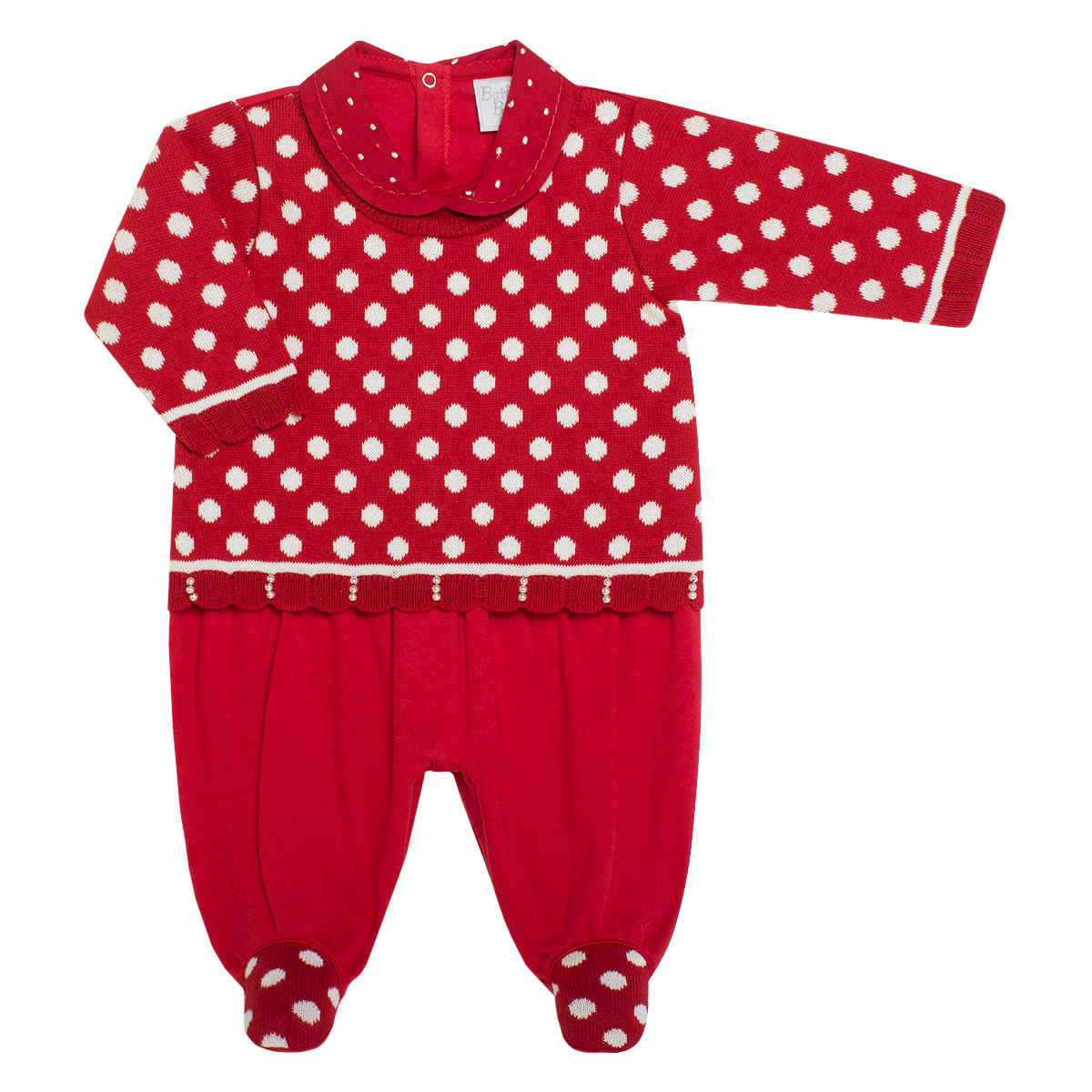 b10a87402ed690 Macacão Blusê para bebê em tricot Marilyn - Beth Bebê no Bebefacil ...