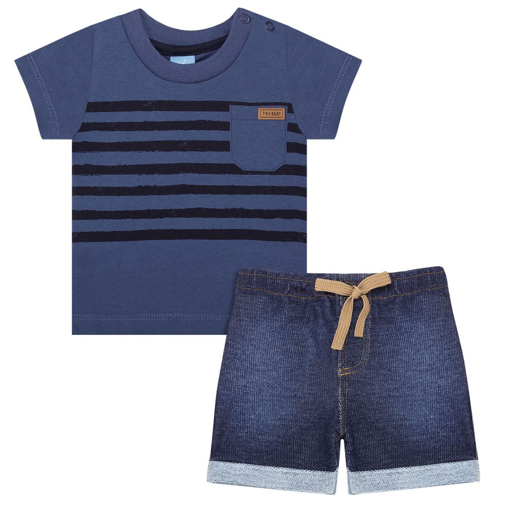 TMX4027-IN_A-moda-bebe-menino-conjunto-camiseta-bermuda-moletom-fleece-indigo-tmx-no-bebefacil-loja-de-roupas-enxoval-e-acessorios-para-bebes