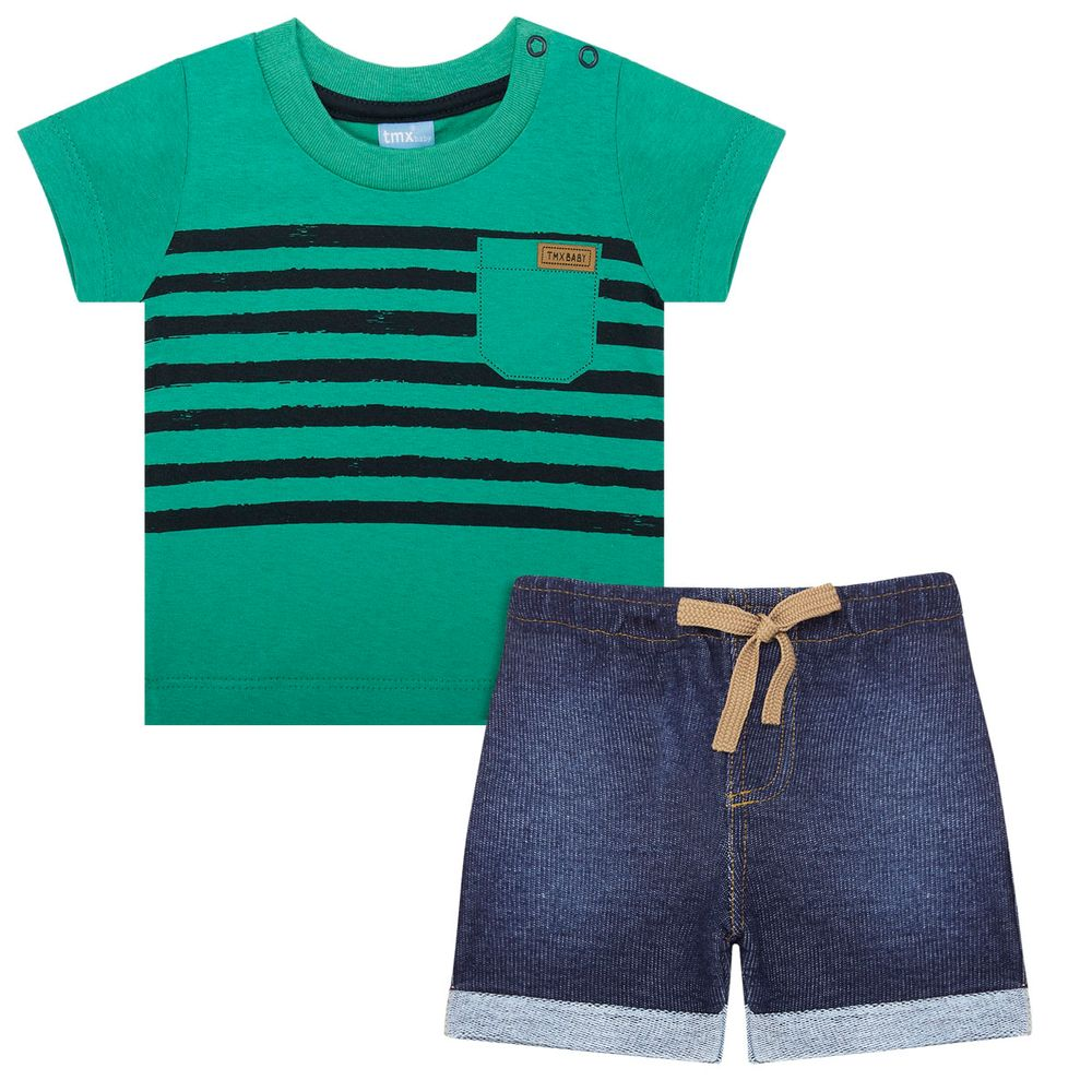 TMX4027-VD_A-moda-bebe-menino-conjunto-camiseta-bermuda-moletom-fleece-oliva-tmx-no-bebefacil-loja-de-roupas-enxoval-e-acessorios-para-bebes