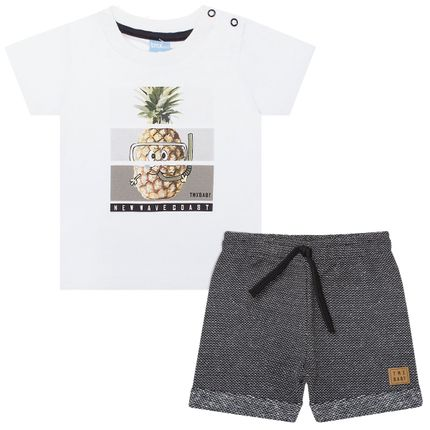 TMX4029-BR_A-moda-bebe-menino-conjunto-camiseta-bermuda-moletom-fleece-preta-pineapple-tmx-no-bebefacil-loja-de-roupas-enxoval-e-acessorios-para-bebes