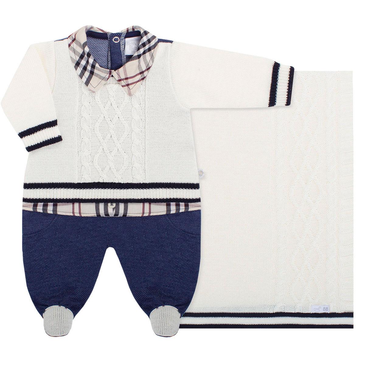 93cf779629873f Jogo Maternidade para bebê: Macacão longo e Manta em tricot Theodor ...