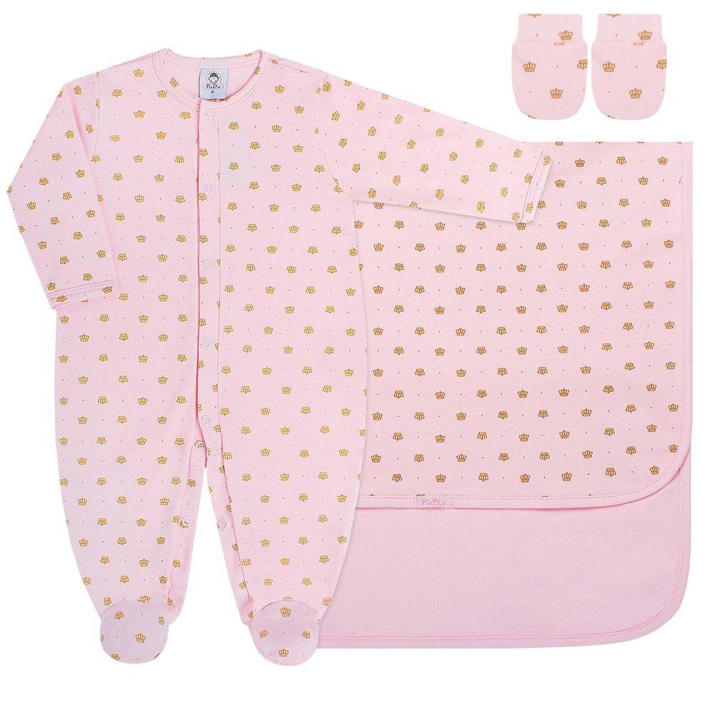 PB8051_A-moda-bebe-menina-jogo-maternidade-macacao-longo-manta-luvas-em-suedine-coroinha-rosa-piu-blu-no-bebefacil-loja-de-roupas-enxoval-e-acessorios-para-bebes