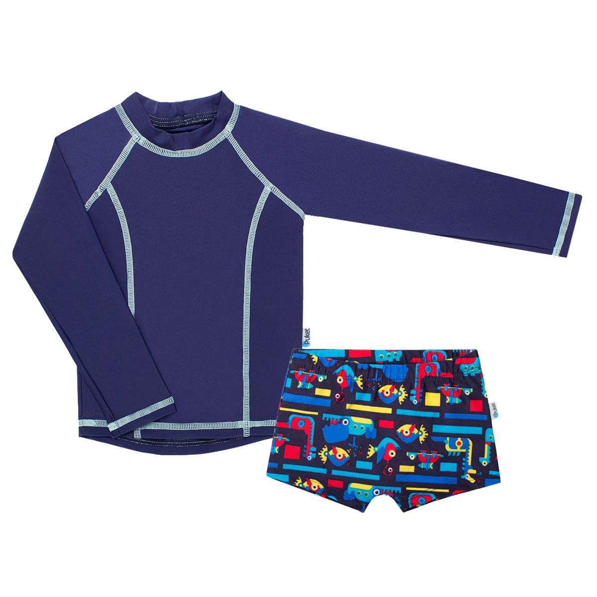 41eb515ea Conjunto de banho para bebê Robôs Marinhos: Camiseta Surfista + Sunga -  Puket