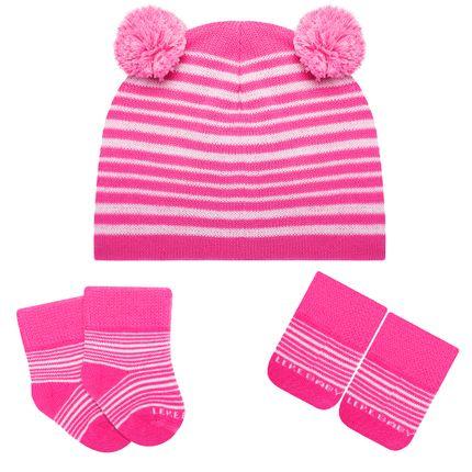 LK402.435-R_A-moda-menina-acessorios-kit-touca-luva-meinha-pom-pom-pink-leke-no-Bebefacil-loja-de-roupas-enxoval-e-acessorios-para-bebes
