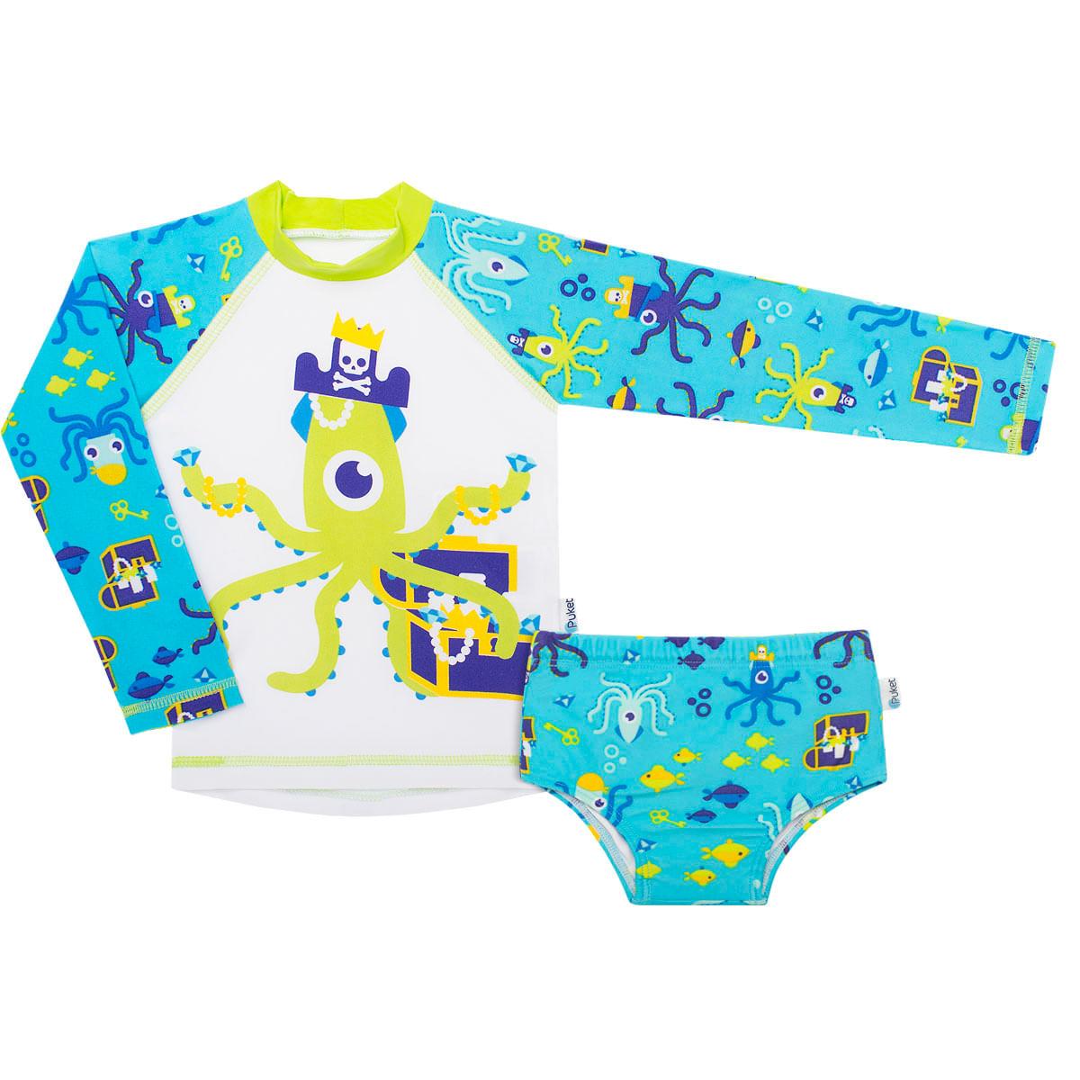 47b465603 Conjunto de banho infantil Polvo Pirata: Camiseta Surfista + Sunga - Puket
