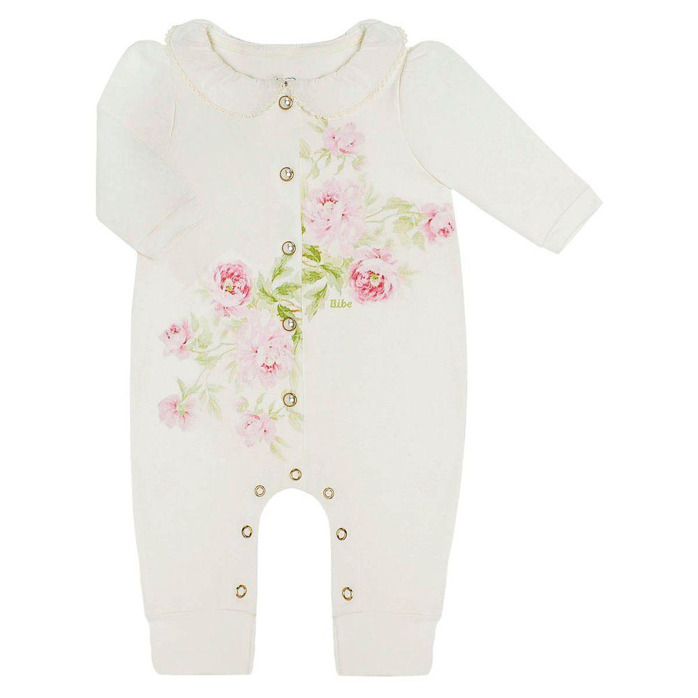 Macacão longo c  golinha para bebê em algodão egípcio Roses - Bibe no  bebefacil loja de roupas enxoval e acessorios para bebes - bebefacil 704bddad1c63c