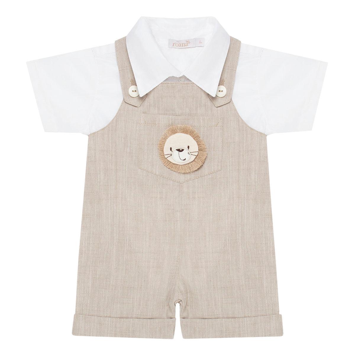 413467816 Jardineira c/ Camisa para bebê em linho Leãozinho - Roana no bebefacil loja  de roupas enxoval e acessorios para bebes - bebefacil
