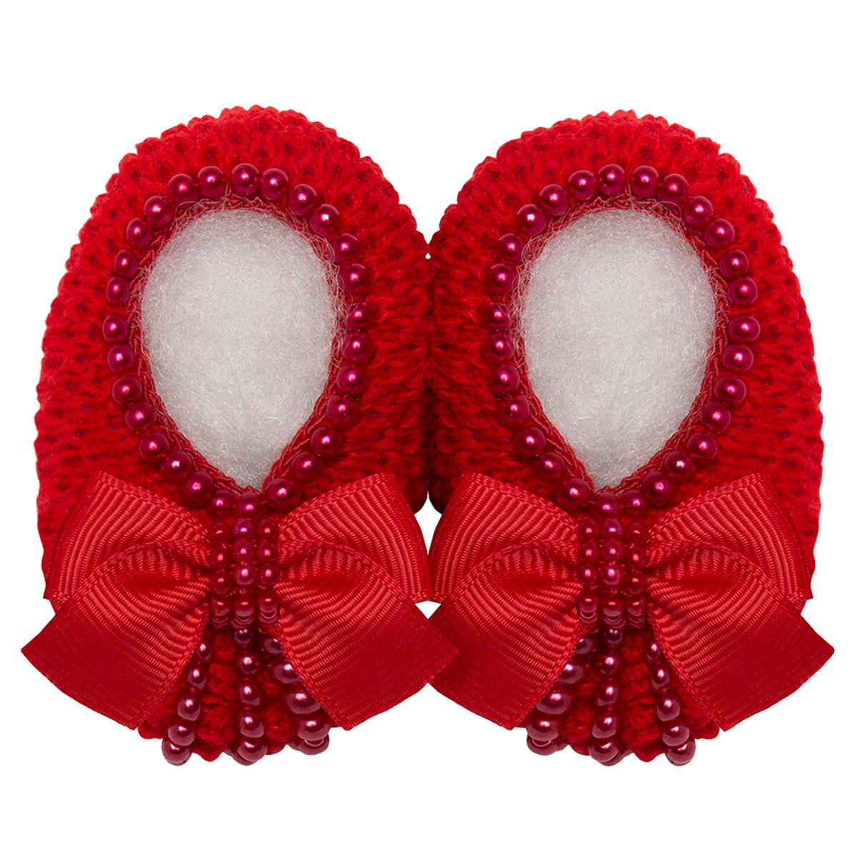b47c4c42e Sapatinho para bebê em tricot Laço Vermelho - Roana no bebefacil loja de roupas  enxoval e acessorios para bebes - bebefacil