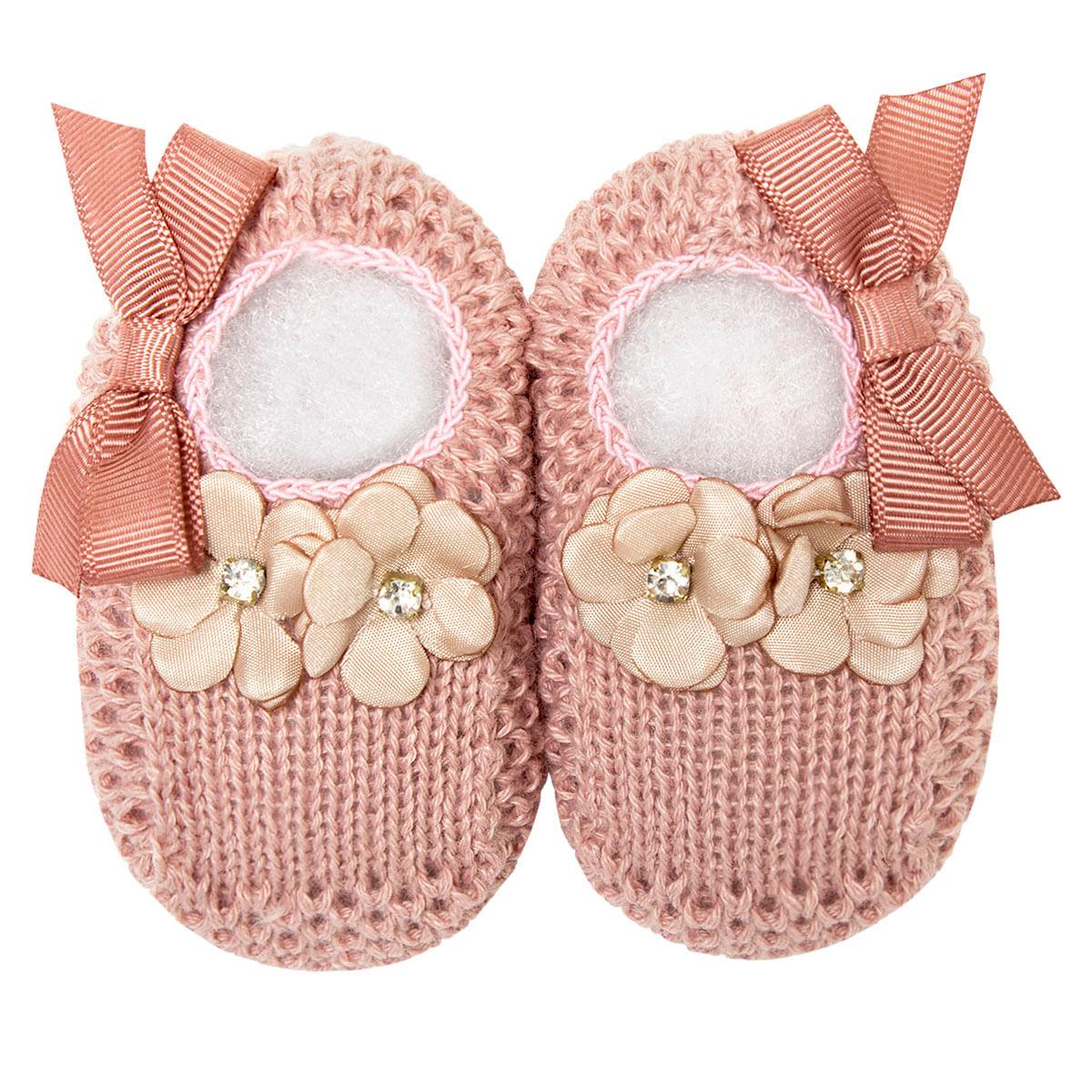c2319194a Sapatinho para bebê em tricot Flores & Laço Rosé - Roana no bebefacil loja  de roupas enxoval e acessorios para bebes - bebefacil