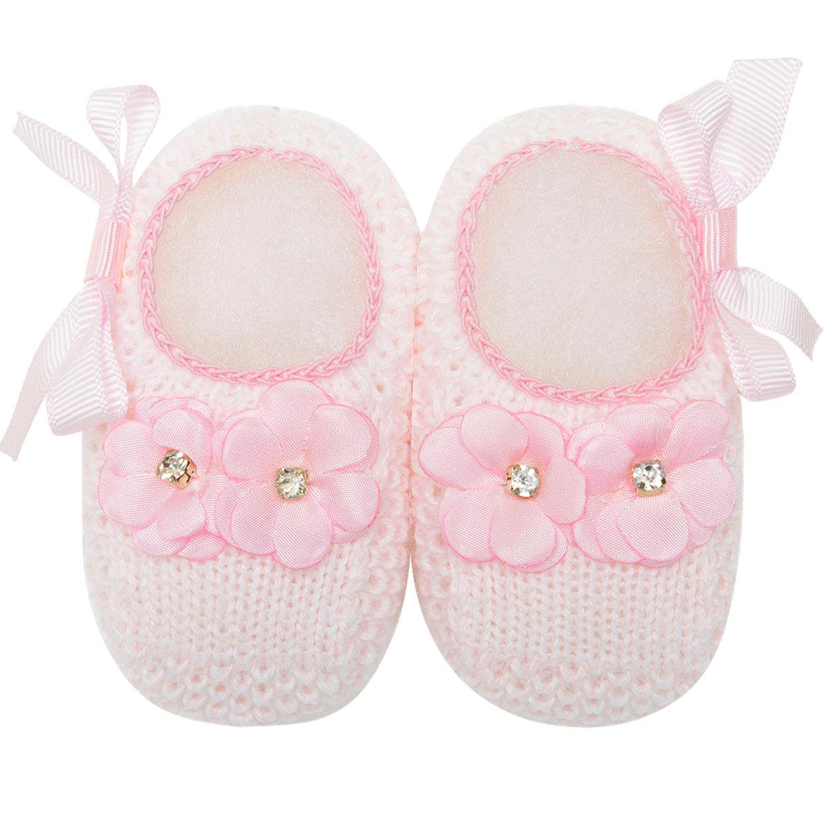 632829dfd Sapatinho para bebê em tricot Flores & Laço Rosa - Roana no bebefacil loja  de roupas enxoval e acessorios para bebes - bebefacil