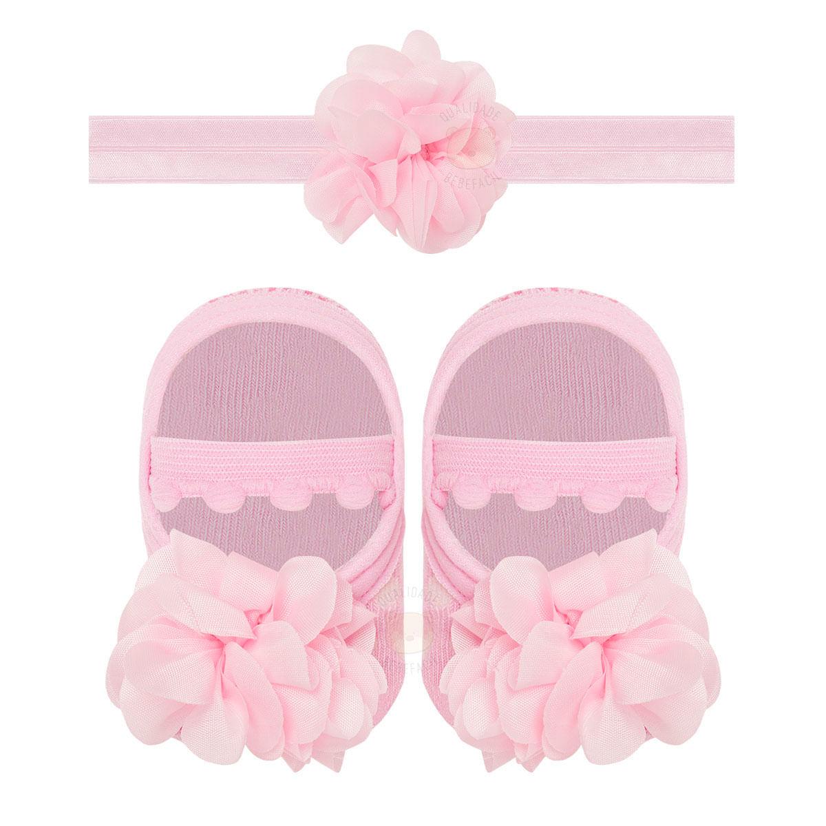 a4e582a837 Kit Faixa de cabelo e Meia Sapatilha para bebê Flor   Pom Pom Rosa - Puket