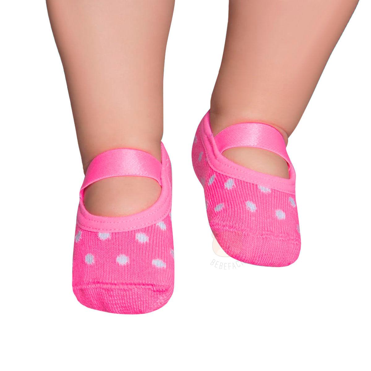 1ae80d2fae Meia Sapatilha para bebê Poá Rosa Fluor - Puket