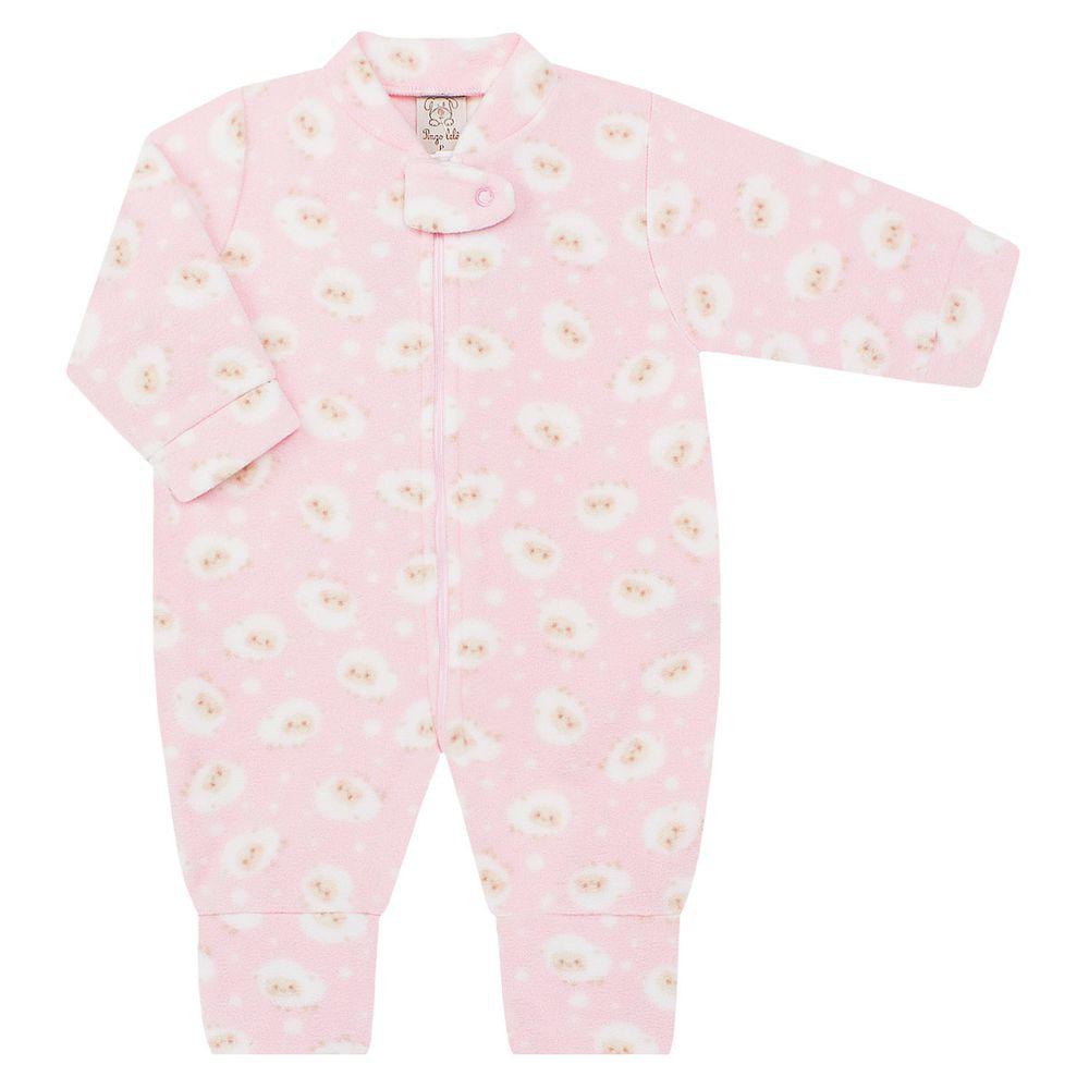 Macacão longo c zíper para bebê em soft Ovelhinha Rosa - Pingo Lelê no  bebefacil loja de roupas enxoval e acessorios para bebes - bebefacil 0226bdd16fb
