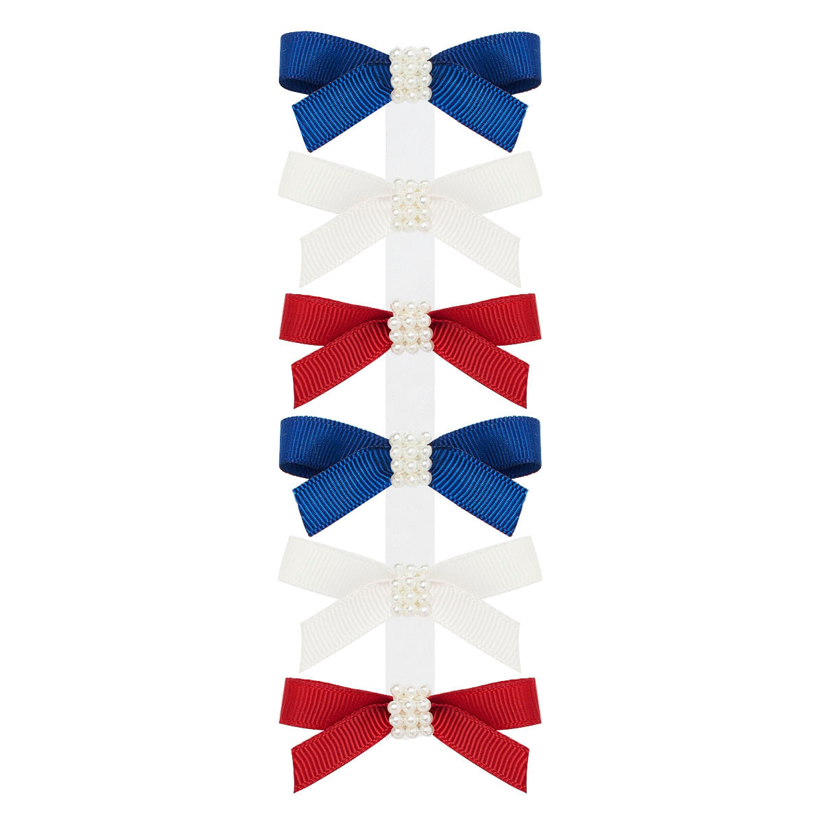 8bc82df80 Kit: 6 Laços c/ Pérolas em gorgurão Marinho/Marfim/Vermelho- Roana no bebefacil  loja de roupas enxoval e acessorios para bebes - bebefacil