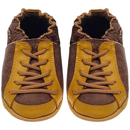 BABO71-sapatinho-bebe-menino-tenis-cool-marrrom-stone-amarelo-babo-uabu-no-bebefacil-loja-de-roupas-enxoval-e-acessorios-para-bebes