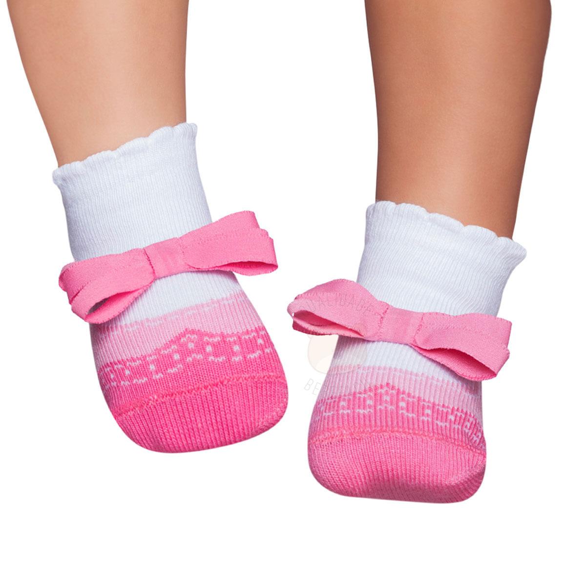 cb27d44af5 Meia Soquete Sapatilha para bebê Laço Rosa - Puket no bebefacil loja de  roupas enxoval e acessorios para bebes - bebefacil