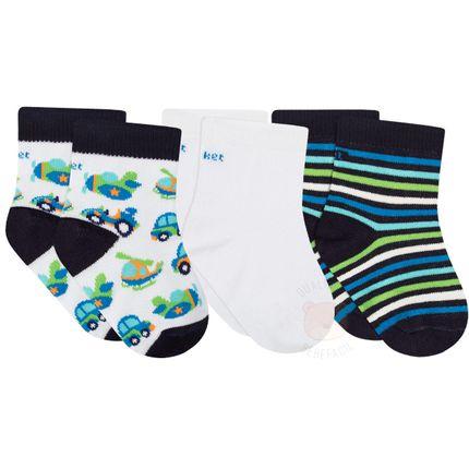 PK7063-AV_A-moda-bebe-menino-acessorios-tripack-meia-avioes-puket-no-Bebefacil-loja-de-roupasenxoval-acessorios-para-bebes