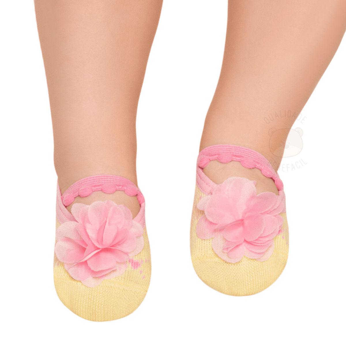 cdda18cecd Meia Sapatilha para bebê Flor Amarela - Puket no bebefacil loja de roupas  enxoval e acessorios para bebes - bebefacil