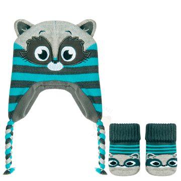 PK6958-GU_A-moda-bebe-menino-kit-touca-meia-guaxinim-puket-no-bebefacil-loja-de-roupas-enxoval-e-acessorios-para-bebes