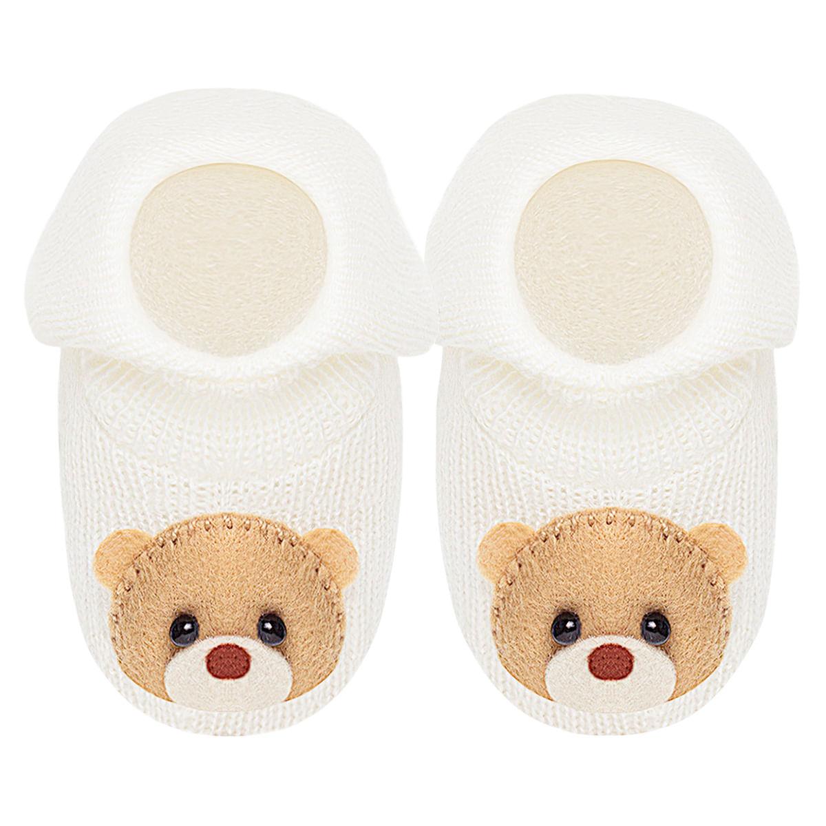 9d5c270f2 Sapatinho para bebê em tricot Ursinho Marfim - Roana no Bebefacil, você  encontra roupas e enxoval para bebês - bebefacil