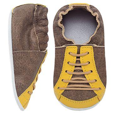 BABO71_A-sapatinho-bebe-menino-tenis-cool-marrrom-stone-amarelo-babo-uabu-no-bebefacil-loja-de-roupas-enxoval-e-acessorios-para-bebes