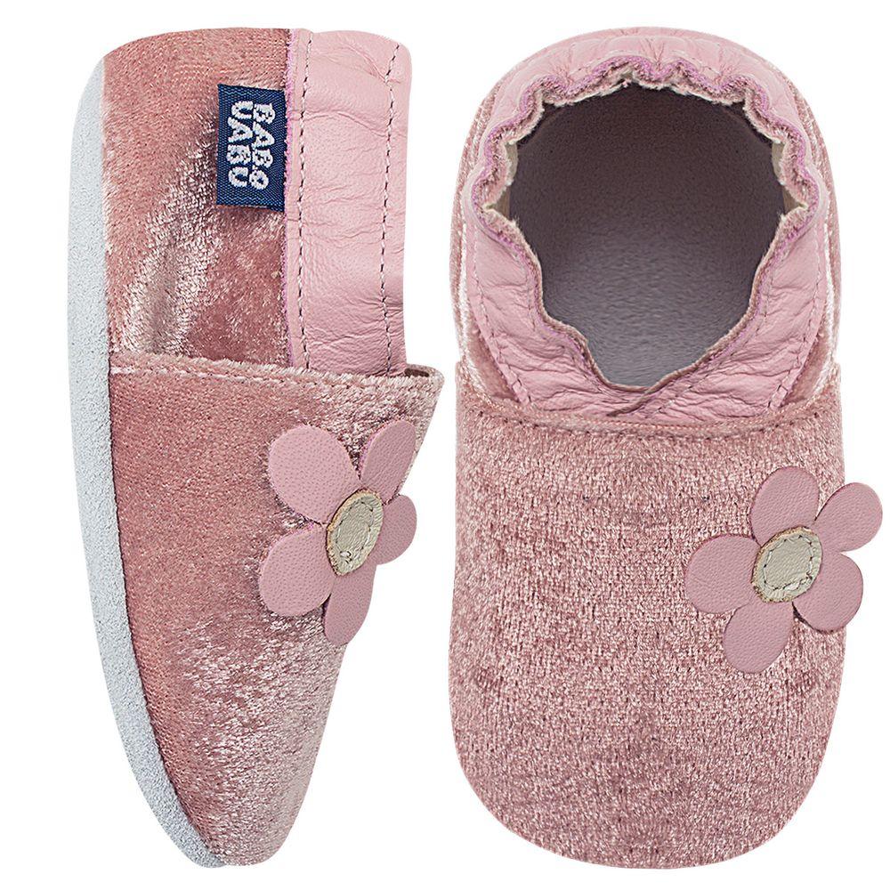 BABO69_A-sapatinho-bebe-menina-sapato-flor-do-campo-veludo-rosa-babo-uabu-no-bebefacil-loja-de-roupas-enxoval-e-acessorios-para-bebes