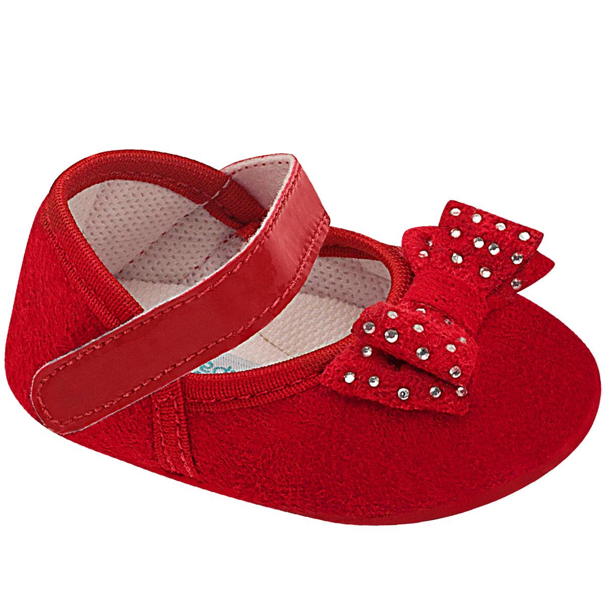 bbfb6d18c Sapatilha para bebê Laço & Strass Vermelha - Unipasso no Bebefacil loja de  roupas enxoval e acessorios para bebes - bebefacil