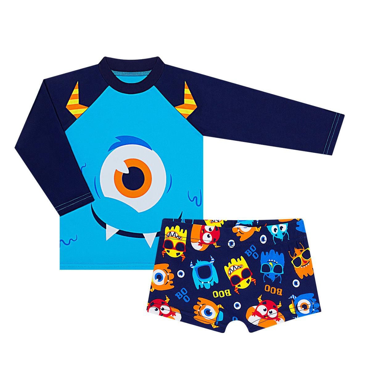 954e7329e Conjunto de banho Monster: Camiseta Surfista + Sunga - Puket no Bebefacil,  onde você encontra tudo em roupas e enxoval para bebês - bebefacil