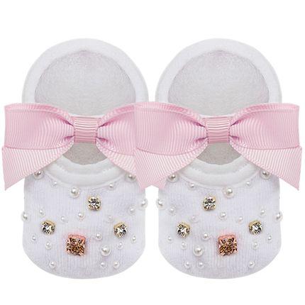 09118001046_A-moda-bebe-menina-meia-sapatilha-laco-strass-e-perolas-marfim-rosa-no-bebefacil-loja-de-roupas-enxoval-e-acessorios-para-bebes