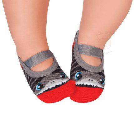 PK6939-SH-010101551200-A-moda-bebe-menino-meia-sapatilha-mescla-tubarao-puket-no-bebefacil-loja-de-roupas-enxoval-e-acessorios-para-bebes