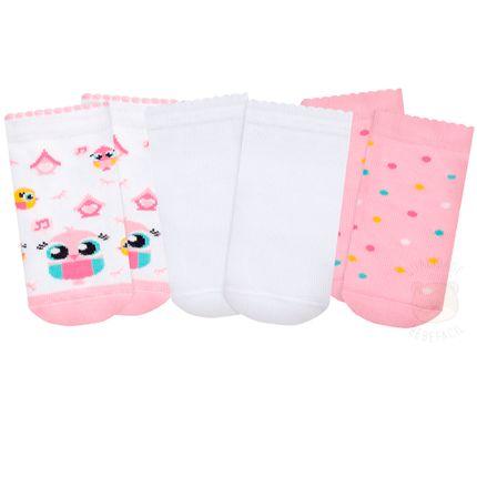 PK7063-COR--010202729100-A-moda-bebe-menina-tripack-meia-soquete-corujinha-puket-no-bebefacil-loja-de-roupas-enxoval-e-acessorios-para-bebes
